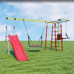 Детский спортивный комплекс для дачи ROMANA Богатырь Плюс качели-гнездо