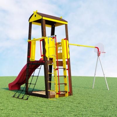 Детский спортивный комплекс для дачи ROMANA Избушка (качели пластиковые)_1